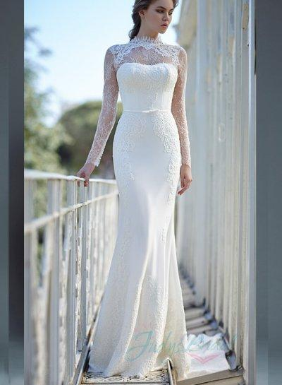 JW16062 Glamorous Illusion Lace High Neck Long Sleeves Sheath ...