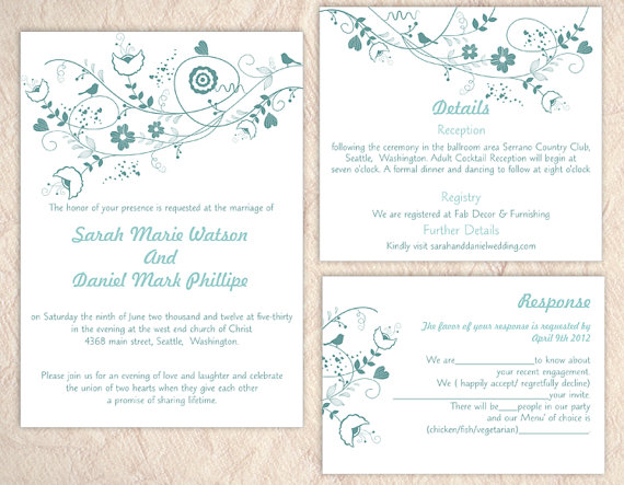 Wedding - DIY Wedding Invitation Template Set Editable Text Word File Download Floral Wedding Invitation Bird Invitation Printable Blue Invitations