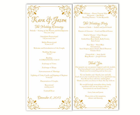 Wedding Program Template DIY Editable Text Word File Download - Floral wedding program templates