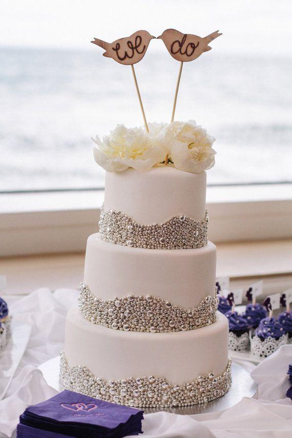 زفاف - Rustic Wedding Cake Topper Love Birds We Do Vintage Chic Decor (item E10634)