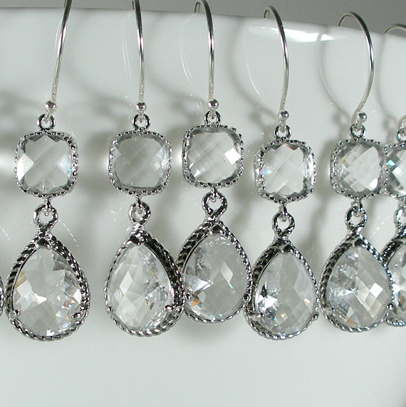 Hochzeit - Set of 5 Crystal Glass Silver Braid Bridesmaid Earrings, Bridesmaid Jewelry, Wedding Earrings, Bridesmaid Gift, Bridal Set (M402S5)
