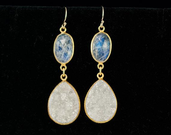 Hochzeit - OOAK - Rainbow Moonstone- Druzy Earrings - Drop Earrings - Statement Jewelry - Bridal Earrings - Gold Earrings