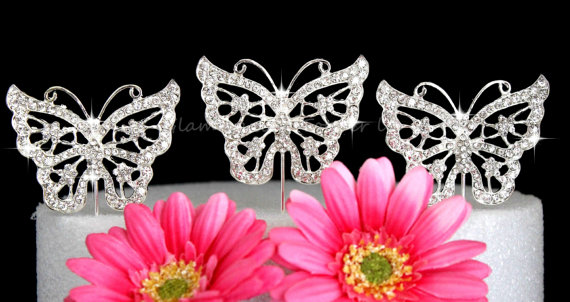 Wedding - Set of FOUR Butterfly Butterflies Cake topper cake pick crystal rhinestone bling wedding cake topper