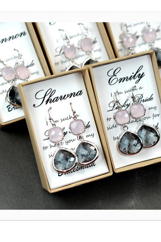 Hochzeit - Pink gray -Bridesmaid Jewelry Bridesmaid Wedding Bridal Jewelry -Bridesmaid gifts, Gold Pink charcoal gray wedding jewelry EARRINGS