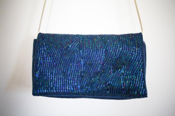 Hochzeit - Vintage Handbag BEADED blue Walborg CLUTCH handbag Wedding EVENING Purse