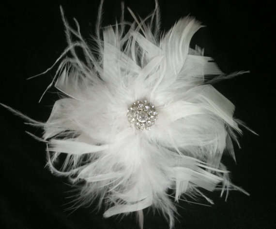 Wedding - CUSTOM COLORS Ostrich Feather and Crystal Chandelle Fascinator - BLING Corsage Crystal Hair Piece Bridal Wedding Brooch White Black Ivory