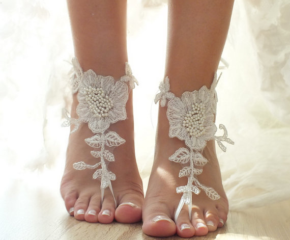 Ivory Beach Wedding Barefoot Sandals Floral Lace Bridal Pearl