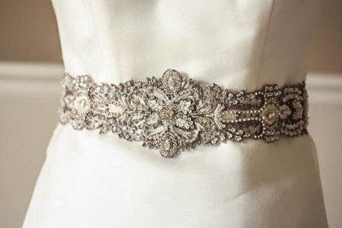 Hochzeit - Bridal Sash in Antique Silver - 29 inches (Made to Order)