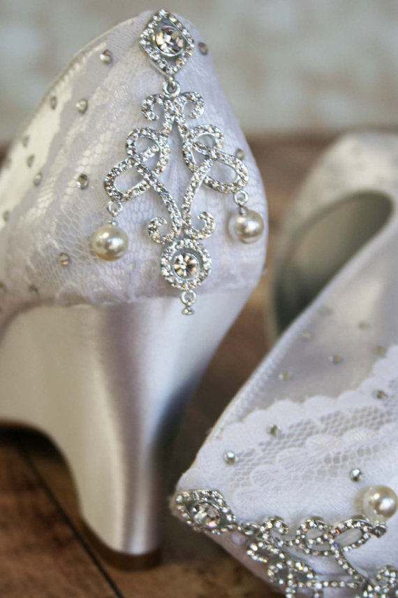 Hochzeit - Wedding Shoe SAMPLE SALE -- Light Ivory Peep Toe Wedding Shoes with Partial Lace Overlay, Chandelier Heel and Scattering of Crystals