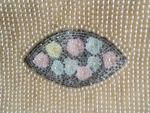 Hochzeit - Sweet Vintage Pearl Purse, Hand Applied Steel Glass Bead Purse, Wedding Bridal Clutch, Handbag