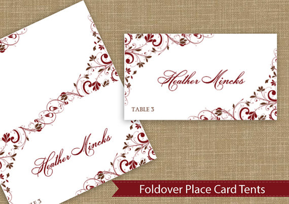 Hochzeit - Place Card Tent  - DOWNLOAD Instantly - EDITABLE TEXT - Chic Bouquet (Chocolate & Burgundy) - Microsoft Word Format - Fits Avery 5302