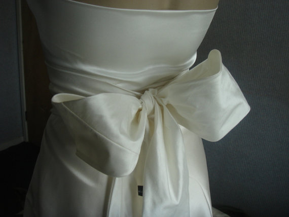 Hochzeit - Ivory bridal silk wedding sash belt dupioni silk prom evening obi sash belt