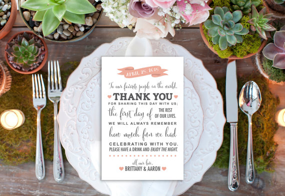 Свадьба - PRINTABLE Custom Thank You Reception Card // Reception Decor // Thank You Card // Modern Wedding Decor // DIGITAL