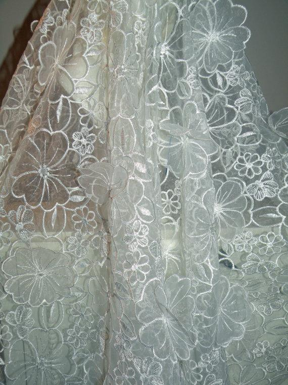 Свадьба - Silk Organza 3D Florals Pearls Wrap/Shrug/Shawl..Hands Free Style Bridal Wedding Off White..Clutch/Purse available