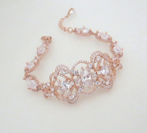 Rose Gold Bridal Bracelet Crystal Wedding Jewelry Art Deco Swarovski Vintage