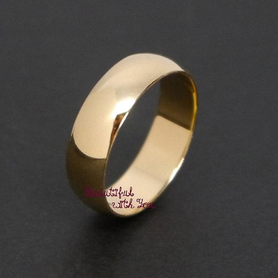 زفاف - Mens Wedding Band Gold,14K Solid Yellow Gold,Mens Wedding Band,Mens Wedding Gold Ring,6MM Promise Engagement Ring, his and hers YGPN6