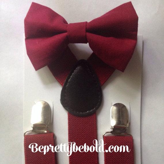 Burgundy Bow Tie Suspender Set Rustic Wedding Burgandy Ring Bearer