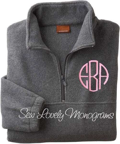 Personalized Quarter-Zip Fleece Jacket. Monogram Pullover ...