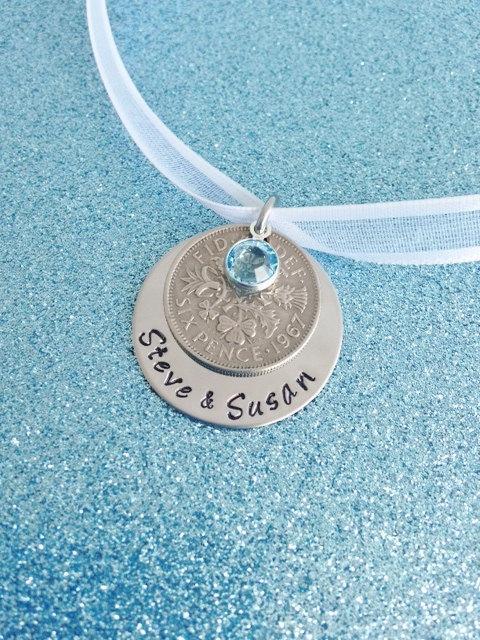 Hochzeit - Lucky Six Pence Wedding Bouquet Charm Personalized Blue Swarovski Crystal