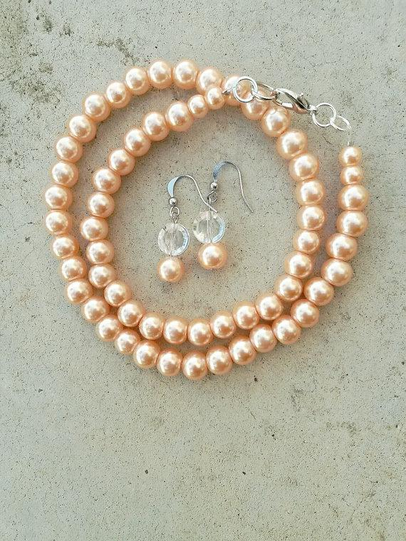 Hochzeit - Bridesmaid peach necklace, SET Peach pearl necklace wedding bridesmaid gift with matching earrings, peach wedding bridal party,peach jewelry