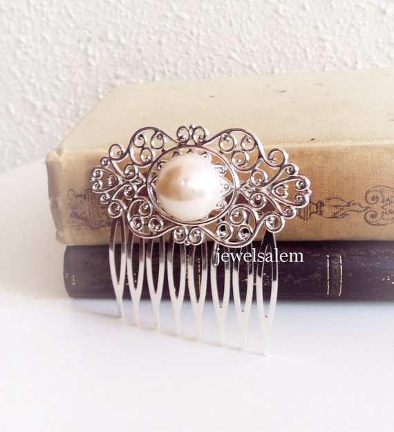 Свадьба - Pearl Hair Comb Wedding Bridal Hair Accessory Silver Antique Brass Vintage Style Something Old White Ivory Cream