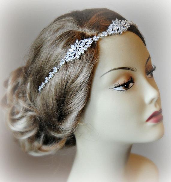 Wedding - Stunning Crystal Wedding Headband, Swarovski Crystal Bridal Head Piece, Rhinestone Headband - CHERISH