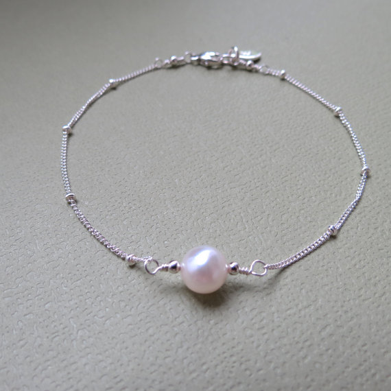 On Personalized Single Pearl Bracelet Sterling Silver Bridal Bridesmaids Gifts Jewelry Akoya