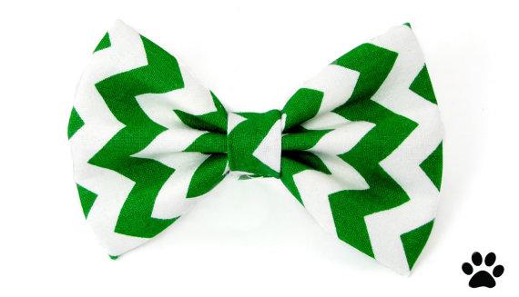 زفاف - Green and white chevron - cat bow tie dog bow tie