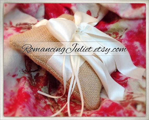 زفاف - Romantic Burlap and Satin Pet Ring Bearer Pillow..You Choose the Accent Color..shown with ivory accent