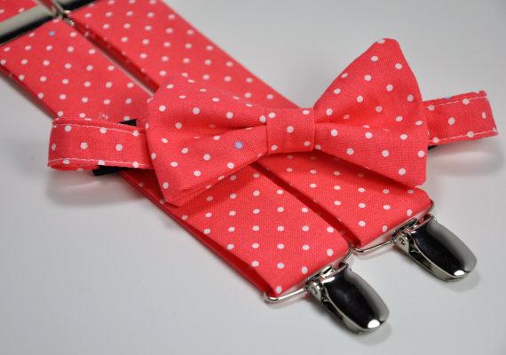 زفاف - Boy's Bow Tie and Suspender Set - Coral Polka Dots - Children's Bowtie and Suspenders - Wedding Bow Tie
