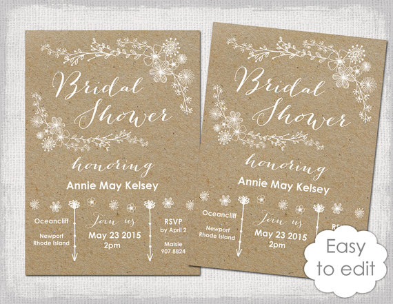 bridal shower invitation template rustic printable templates diy whimsical kraft wedding shower invitations you edit word instant download