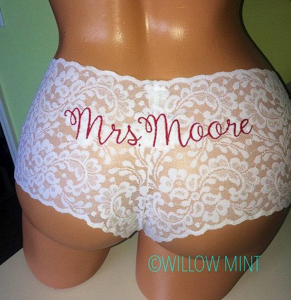 Свадьба - Monogram bridal cheeky underwear; monogram wedding panties; personalized lace underwear; something blue; custom bridal underwear