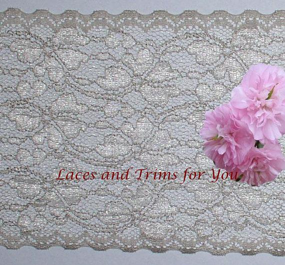 Свадьба - Taupe Lace Trim 2 Yards Vintage Floral Galloon 6 inch wide Lot P31