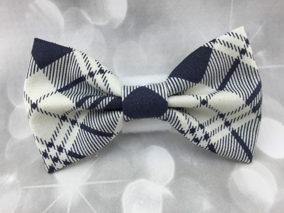 زفاف - Navy & Cream Plaid Pet Bow / Bow Tie - Cat Dog Bow
