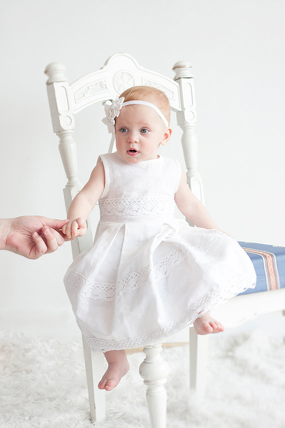 White flower girl dress white christening linen girl for White linen dress for beach wedding