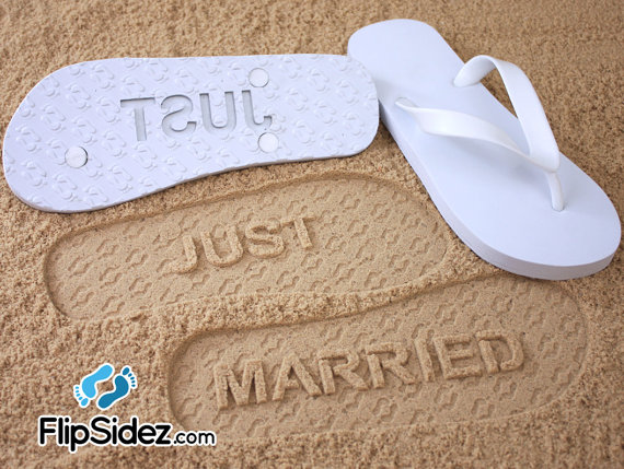 942348bf53bd4 Just Married Flip Flops Wedding Bridal  Check size chart before ordering