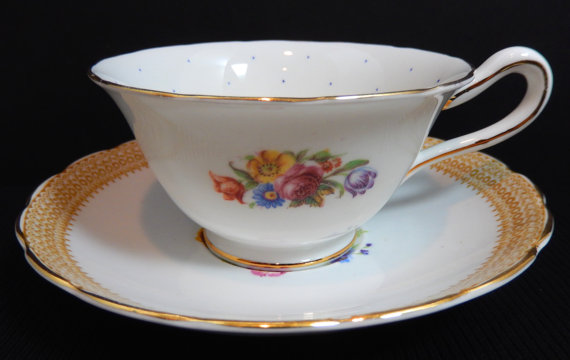 Свадьба - Vintage Royal Blue Dotted GROSVENOR JACKSON GOSLING of England Bone China Teacup Cup Saucer