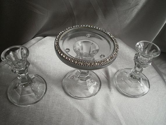 Свадьба - Unity Candle Holders, Set of Three, Wedding Candles, Ceremony Candles