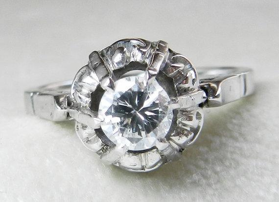 Свадьба - Antique Engagement Ring Half Carat Diamond Engagement Ring 14K Gold Antique Diamond Halo Ring Vintage Deco Engagement Ring