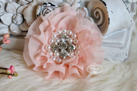 Свадьба - New: Reilly Collection, 2 pcs BABY PEACH Soft Chiffon Ruffled Fabric Flowers w/ Rhinestones Pearls - Layered Bouquet fabric flowers