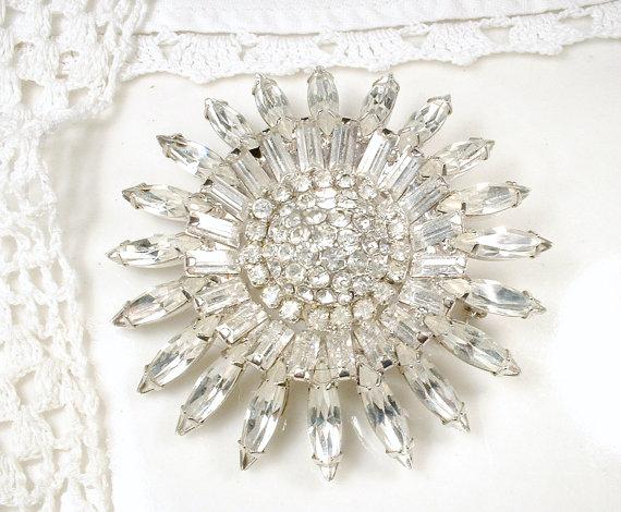 Свадьба - Bridal SASH Brooch OR HAiR CoMB, 1920s Vintage Large Round Pave Rhinestone Art Deco Pin or OOAK Marquise Crystal Wedding Headpiece Accessory