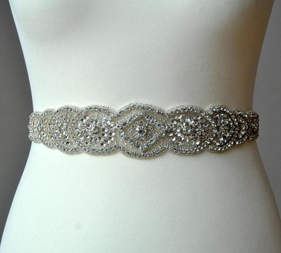 "Mariage - 24""Crystal Luxury Bridal Sash,Wedding Dress Sash Belt, Rhinestone Bridal Bridesmaid Sash Belt, Wedding dress sash"