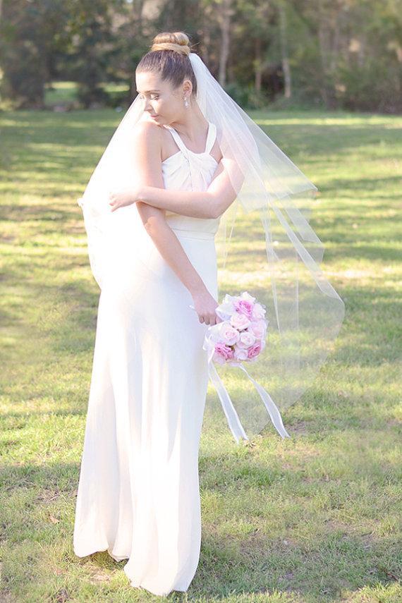 Свадьба - Wedding veil, bridal veil, two tier cut edge veil in ivory, waltz length, bridal illusion tulle