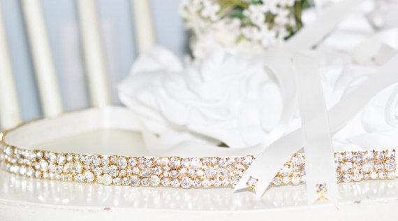 Свадьба - NEW Bridal Elegance in Silver or Gold pronged Rhinestone Wedding Gown Sash Belt