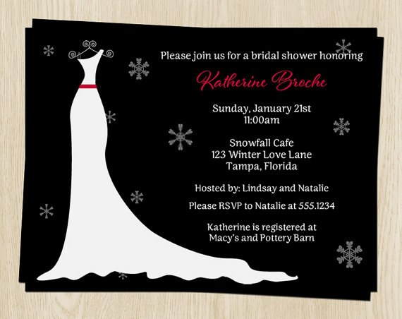 Winter bridal shower invitations black white wedding for Black and white bridal shower invitations