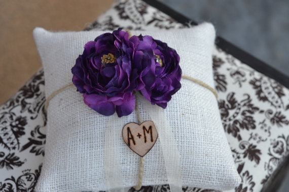 Wedding - Ring Bearer Pillow Purple silk flower over 45 different flowers and 35 ribbon to select from