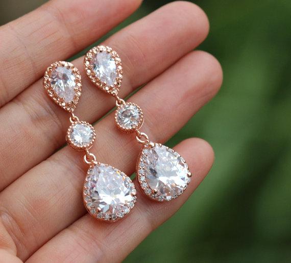 Wedding - bridal rose gold earring  pink gold bridal earring  rose gold wedding  earring bridesmaid earring