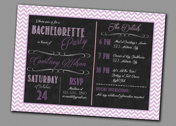 Свадьба - Bachelorette Chalk Invitation - Printable - Purple Bridal Shower Lingerie Shower, Bachelorett Party, Girls Night Out
