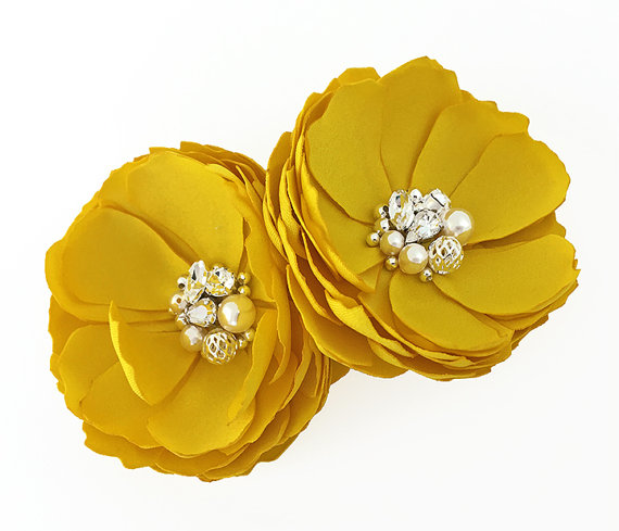 Wedding - Bright Yellow Flower Hair Pins - Shoe Clip For a Bride, Bridesmaids, Flower Girl, Special Event, Photo Prop, Gift - Many Colors - Kia