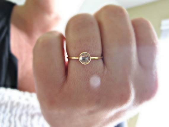 Свадьба - White Topaz 14k Gold Ring, Engagement Ring, Rose Cut Gemstone Ring, Topaz Stacking Ring, Gemstone Ring, Stack Ring, 14kt Yellow Gold